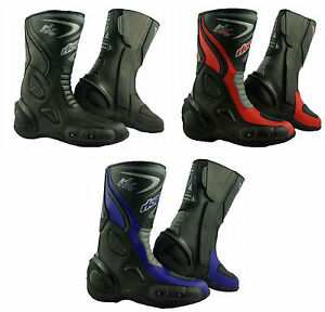 LV14-Motorcycle-Black-Blue-Red-Armoured-Leather-Waterproof-Motorbike-Race-Boots