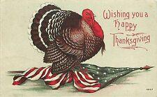 1912 Thanksgiving Postcard 4807, Tom Turkey on American Flag, Red/Green Ink