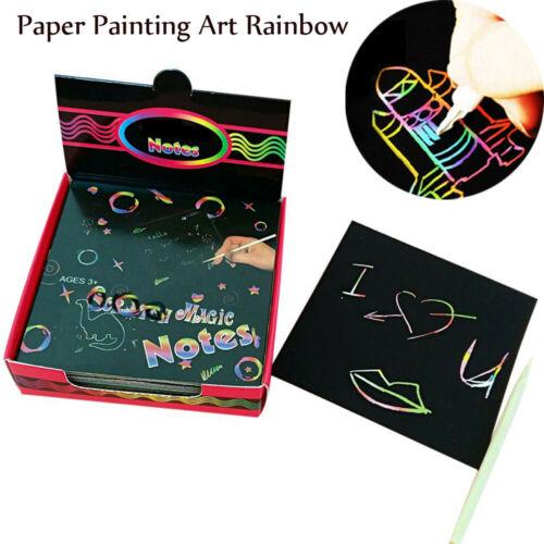 100PCS Magic Scrape Painting Paper Art Rainbow Learning Educational Gift Toys