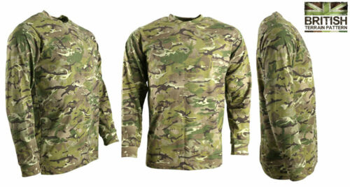 Mens Combat Army Long Sleeved T-shirt British Military BTP Camouflage Camo New