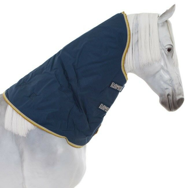 Horseware Rambo Original Turnout Hood 150g - denim bluee, lime green & mustard