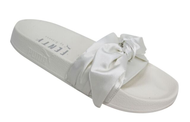 newest 67013 ccd34 Puma Fenty Rihannah Bow Slider Slip On Womens White Flip Flops 365774 02 M10