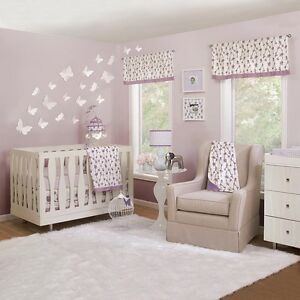 Petit Nest Sophie Collection 4-Piece Crib Bedding Set - Baby Girls, Purple/White