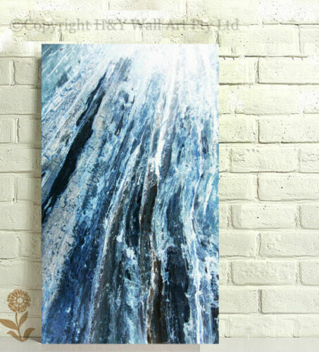 Abstract Stretched Canvas Prints Framed Wall Art Home Bar Decor Painting Blue