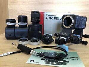 Nuovo-di-zecca-close-up-Kit-COMPLETO-Canon-auto-soffietto-amp-FD-foto-Macro-Lente-e-altro-ancora