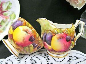 AYNSLEY-Orchard-fruits-signed-N-Brunt-creamer-and-sugar-holder-set