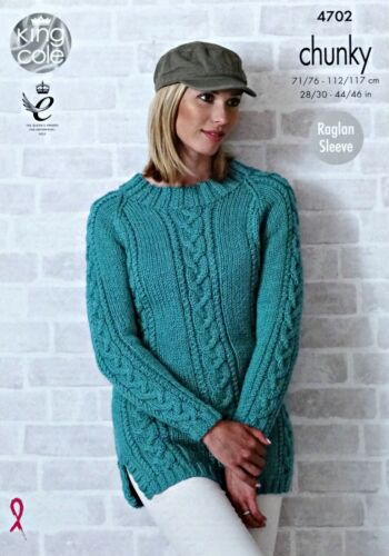 KNITTING PATTERN Ladies Long Sleeve Cable Panel 2 Lengths Jumpers Chunky 4702