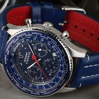 Detomaso Firenze Montre Homme Chronographe Bleu Acier Date Etanche 10 Atm Neuve