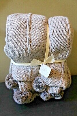 New Pottery Barn Faux Fur Pom Pom Knitted Throw Blanket