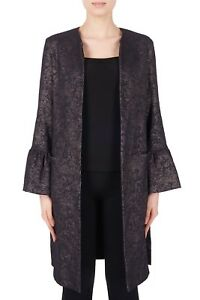 Joseph-Ribkoff-Black-Taupe-Open-Front-Long-Bell-Sleeves-Long-Jacket-184777-New