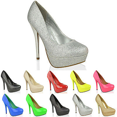 WOMENS LADIES PLATFORM HIGH HEELS PUMPS PARTY PROM WEDDING COURT SHOES SIZE