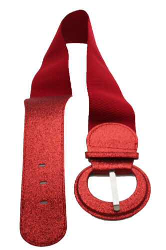 Women Elastic Fabric Hip High Waist Wide Fashion Belt Sparkling Red Party S M