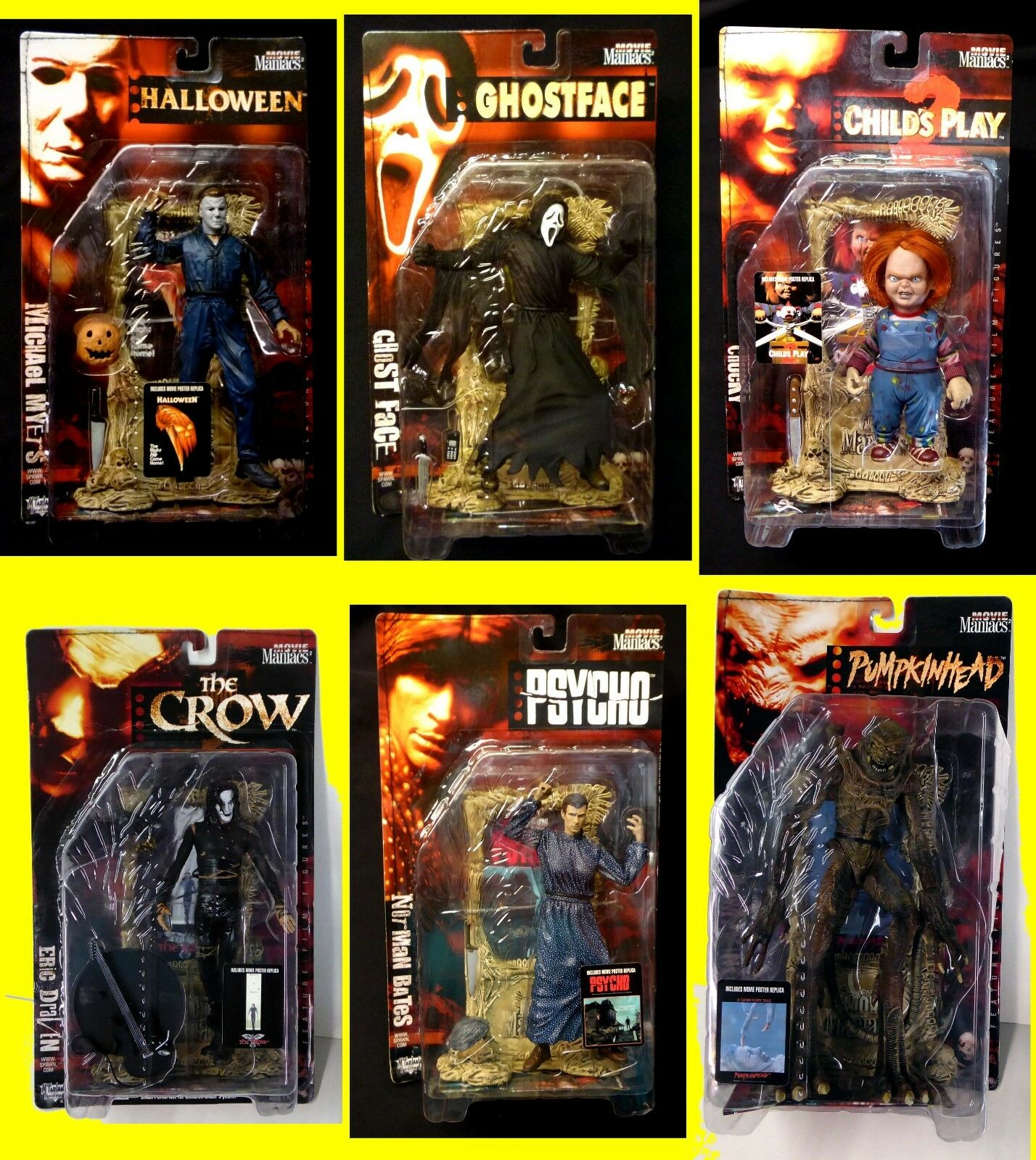 McFarlane Toys Movie Maniacs Series 2 Set of 6 Action Figures New from 1999 Crow