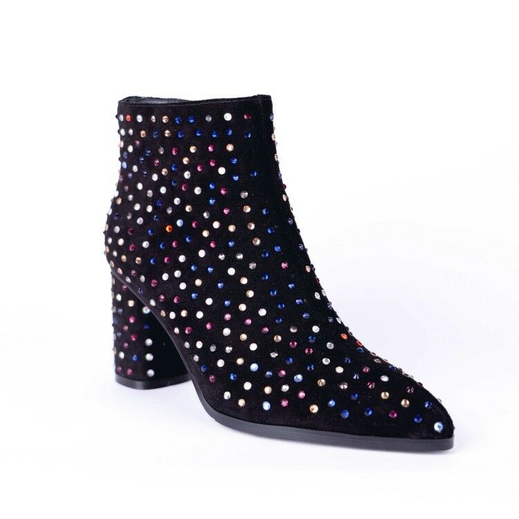 Women's Pointy Toe Sequins Sequins Sequins Rhinestone Block Heels Ankle Boots Winter shoes Y717 b533f2