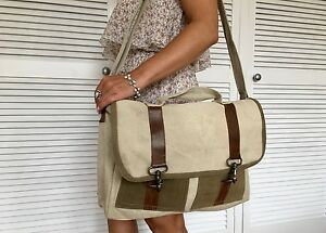 71fd6b444f640 Image is loading VINTAGE-RECYCLED-CANVAS-AND-LEATHER-CROSSBODY-FLAP-OVER-