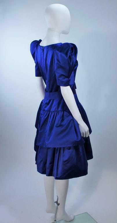 ARNOLD SCAASI Blue Satin Cocktail Dress with Bow … - image 4