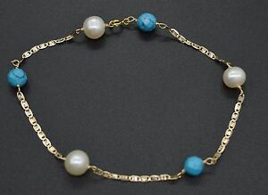 #BN138 NEW 14K Solid Yellow Gold 6mm Turquoise & Pearl Faceted Bead Bracelet 8