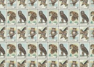 American Owls Mint Sheet of 50 Stamps, Scott #1760-63, MNH Free Shipping! Nice!