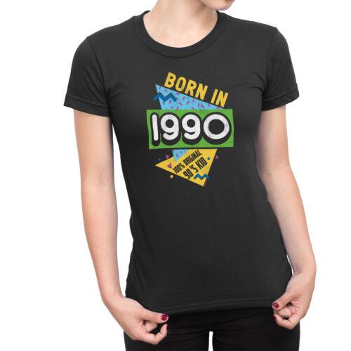 Ladies Nineties Birthdays Novelty T-shirt BORN IN 1990-1999