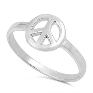 925 sterling silver peace sign symbol ring size 3 4 5 6 7