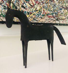 Vintage Metal Horse Figure Statue Mid Century Modern Rustic Modern