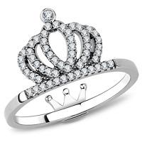 Women's Stainless Steel Princess Queen Crown Tiara Woman's Girls Ring 6,7,8,9