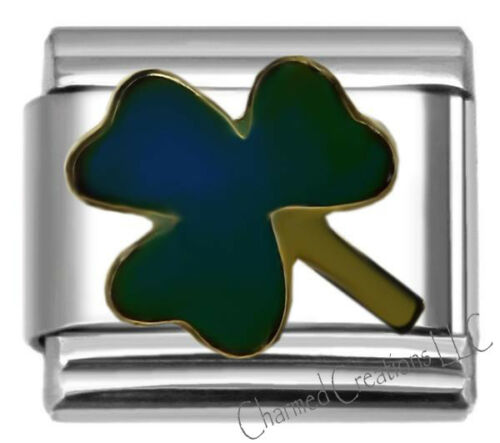 Mood Color Changing Lucky Shamrock Clover 9mm Italian Charm Stainless Steel Link