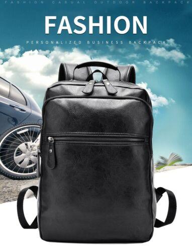 Men Business Casual Backpacks For School Travel Bag Black Leather Men/'s