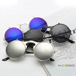 Vintage-Steampunk-Goggles-Round-Metal-Flip-Up-Sunglasses-Eyewear-Lens-Men-Women