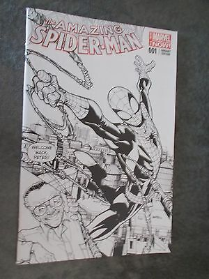 THE AMAZING SPIDER-MAN #17 HUMBERTO RAMOS STAN LEE SKETCH B/&W VARIANT COVER NEW