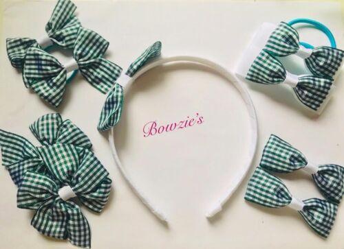 Girls School Hair Bows Gingham Headband Clip Box Set