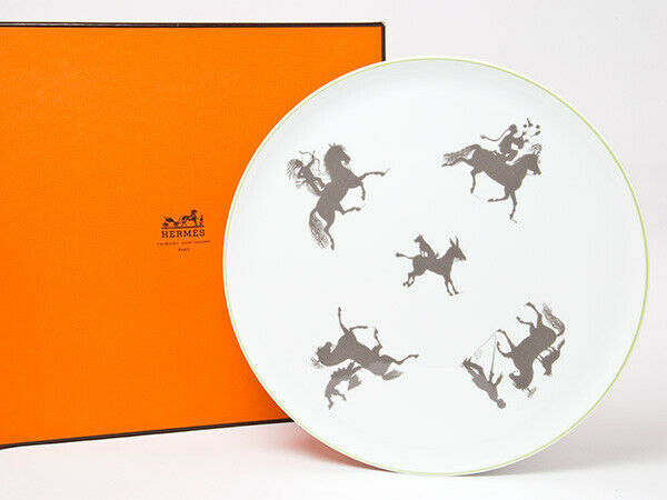 HERMES PORCELAINE Silhouettes American Dinner Plate Vaisselle Ornement 12.4  NEUF