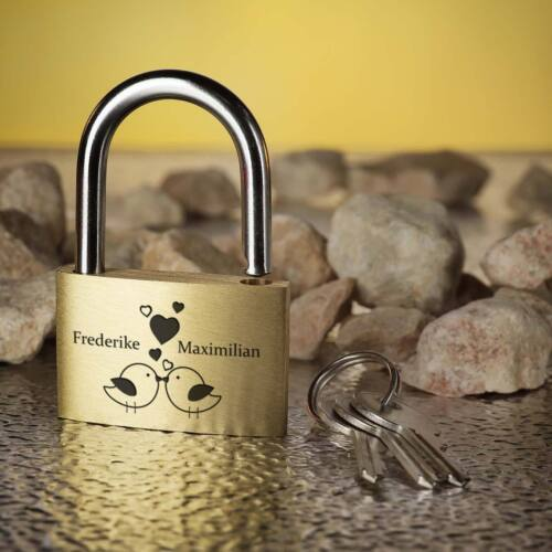 Engraved Design Vogelpärchen Lovelock Padlock Gold Incl