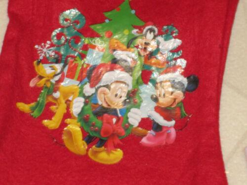 Christmas Stocking /& Santa Hat Mickey Minnie Mouse Disney Child Red Felt