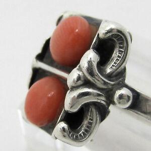 seltener-ART-DECO-RING-Silber-Koralle-UM-1920-MEISTERMARKE-800-1000-Silber