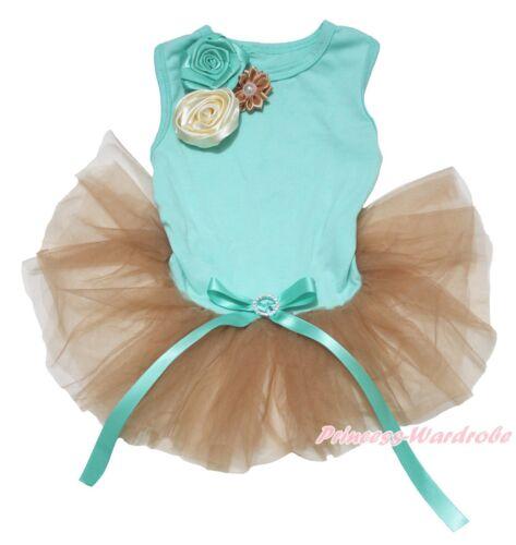 Elegant Rose Aqua Blue Top Goldenrod Gold Gauze Skirt Pet Dog Puppy Cat Dress