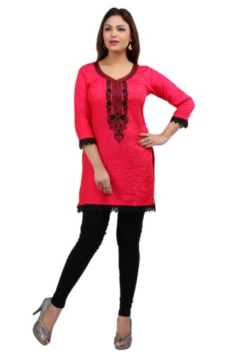 New IndianDesigner Women NYLON SILK blouse tops Kurta Kurtis Tunics Pink Fuchsia