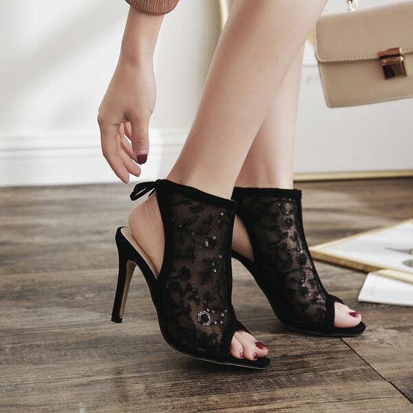 Sandali bottes estivi tacco stiletto 11 cm noir simil pelle eleganti 9971