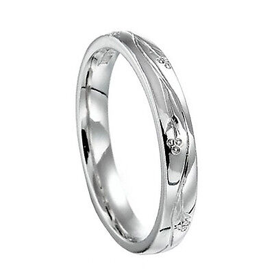 18ct White Gold Hand Engraved Wedding Rings Court Comfort 3mm 750 UK HM Bands