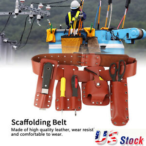 Scaffolding-Tool-Belt-Electrician-Waist-Pocket-Tool-Set-Brown-Leather