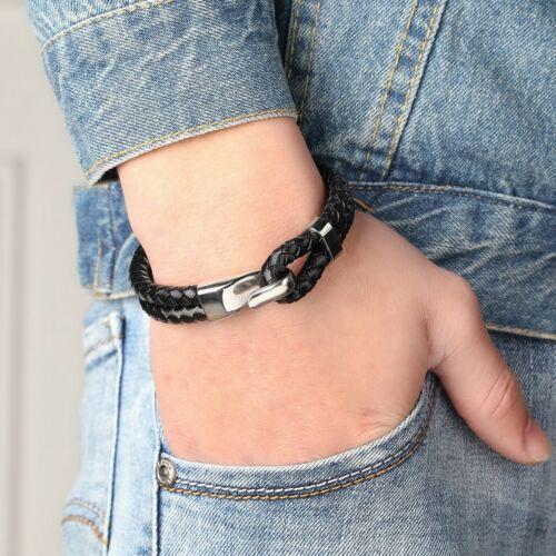 Bracelet pour homme en cuir noir et acier inoxydable 21 cm fermoir a crochet