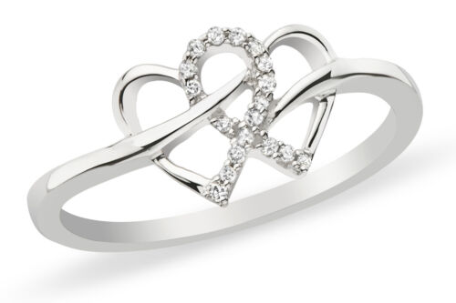 18ct White Gold on Hallmark 925 Silver Hearts Kiss Silver Ring Love Gift For Her