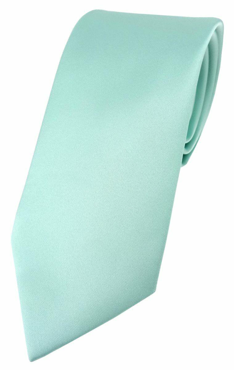 TigerTie Designer Krawatte in mint grün einfarbig Uni - Tie Schlips
