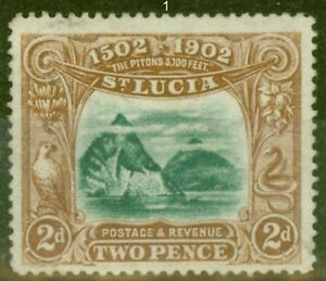 St Lucia 1902 2d Green & Brown SG63 Fine & Fresh Lightly Mtd Mint