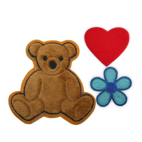 3pc Big Furry Brown Teddy Bear Heart Flower Kaylee Firefly Sew On Applique Patch