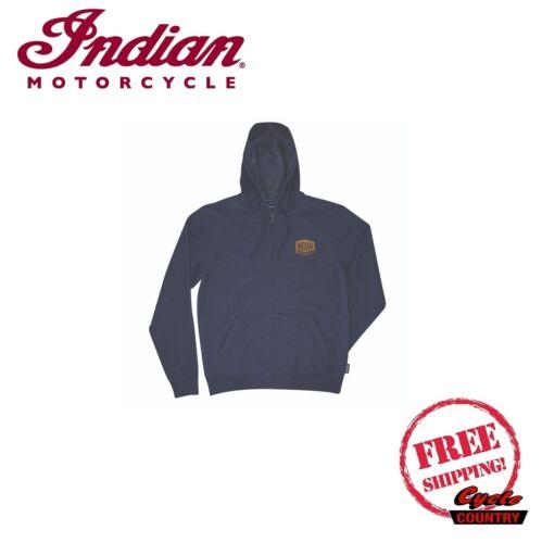 GENUINE INDIAN MOTORCYCLE BRAND COTTON MEN/'S ZIP FRONT HEADDRESS HOODIE BLUE NEW