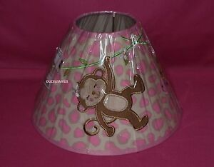 BABIES R US GIRL MONKEY LAMP SHADE WHITE PINK MONKEY GIRAFFE LAMPSHADE NIP