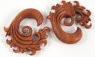 Pair Handmade Carved Wood Curl Abstract Wave Floral Vine Hanger Ear Gauge Plugs