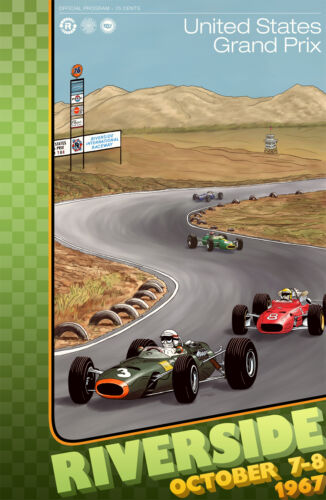 "United States Grand Prix Riverside Raceway 1967-24/""x36/"" Canvas Racing Poster"