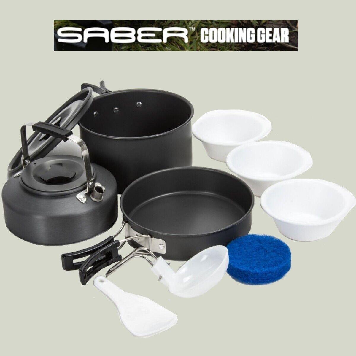 Saber Carp Fishing Cookset Kettle Frying Pan Saucepan Bowls Utensils Camping